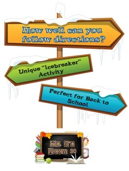 """Ultimate ICEBREAKER Activity: """"Can you follow directions?"""" FUN Grades 6-12"""