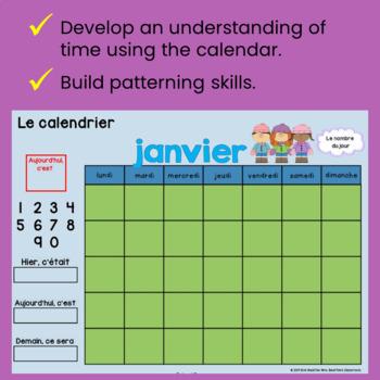 Interactive Calendar Math for SMART Board ~ Kindergarten FRENCH Edition~