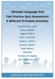 Ultimate Language Arts Test Practice Quiz Assessment with 6 different Printable