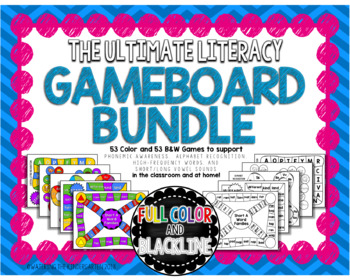 Ultimate Literacy Game Bundle - Color/BW - Sight Words, ABCs, Vowels & More!