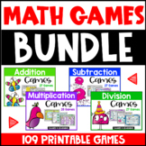 Facts Fluency Math Games Bundle: Addition, Subtraction, Multiplication, Division
