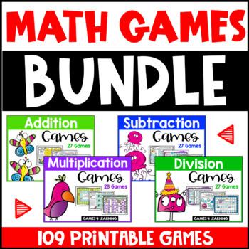 Math Games Bundle: Math Facts Addition, Subtraction, Multi
