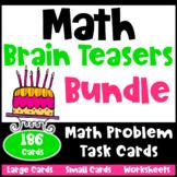 Math Task Cards: Math Brain Teasers and Math Problems Bundle