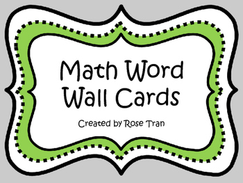 NEW  Ultimate Math Word Wall (Over 150 word wall cards)