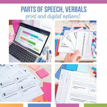 Grammar Task Card Bundle: parts of speech, parts of a sentence, verbals, & more