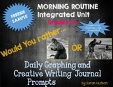 Ultimate Morning Routine Graphing and Creative Writing FREEBIE