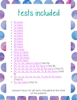 Ultimate Multiplication Facts Tests Set