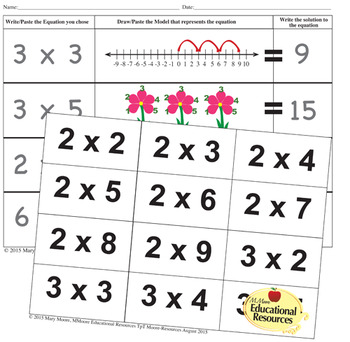 Multiplication - MATCHING Math Game with Multiplying Methods - 3 Math Centers!