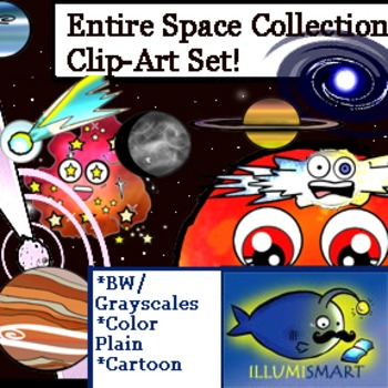 Ultimate Outer Space Clip-Art Collection! 85 Pieces!