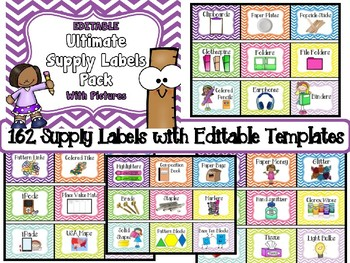 EDITABLE Ultimate Pack of Supply Labels With Pictures (160+ READY-MADE labels)