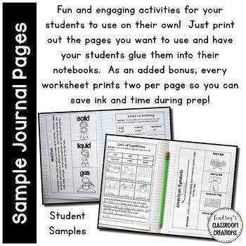 Science Notebook & Social Studies Notebook BUNDLE ~ 1st / 2nd Grade!! No Prep!