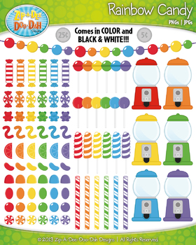 Ultimate Rainbow Candy Clip Art Set — Over 110 Graphics!