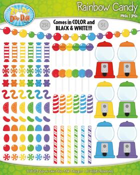 Rainbow Candy Clipart {Zip-A-Dee-Doo-Dah Designs}