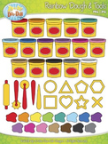 Rainbow Clay Dough & Tools Clipart {Zip-A-Dee-Doo-Dah Designs}