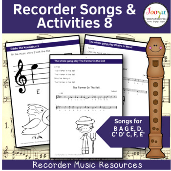 Recorder Music, Songs and Activities Bundle - B A G E,D,C' D' C, F, E' F# Bb