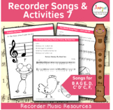 Recorder Music, Songs and Activities - B A G E,D,C' D' C, F,