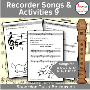 Recorder Music, Songs and Activities - B A G E,D,C' D' C, F, E' F#