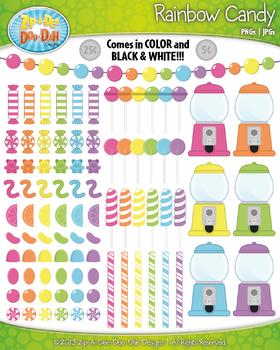 Ultimate Retro Pastel Rainbow Candy Clip Art Set — Over 110 Graphics!