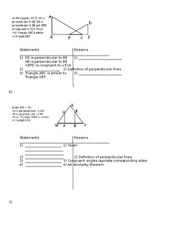 Ultimate Similar Triangles Proofs Packet