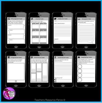 Social Media Editable Exit Tickets: cell phone style