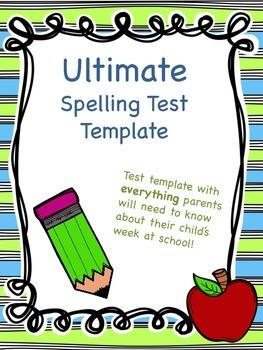 Ultimate Spelling Test Template--FREEBIE