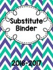Sub Binder with Emergency Sub Plans