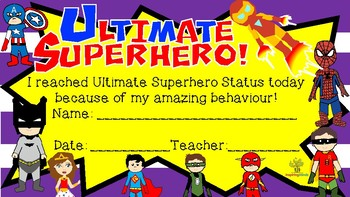 Ultimate Superhero Status Certificate