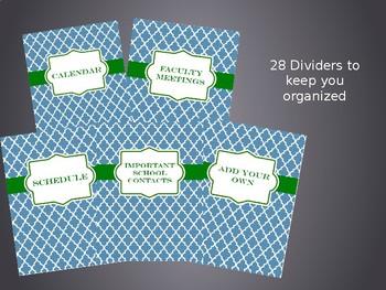 Ultimate Teacher Organizer- Blue Tile Cover