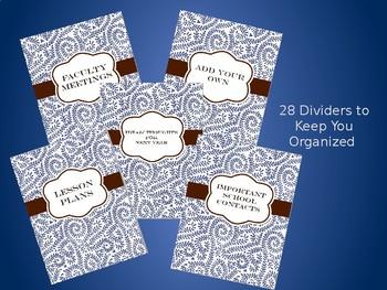 Ultimate Teacher Organizer- Blue Vine Cover