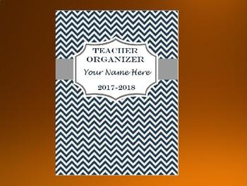 Ultimate Teacher Organizer- Navy Blue Chevron Cover