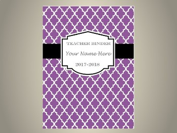 Ultimate Teacher Organizer- Purple Tile Cover