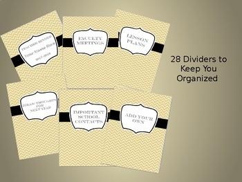 Ultimate Teacher Organizer- Yellow Chevron Cover