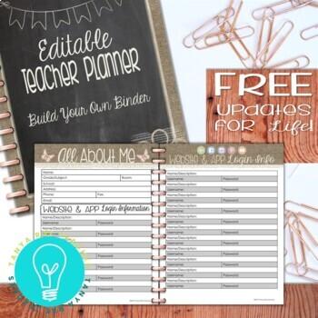 Ultimate Teacher Planner & Organizer Binder - EDITABLE {Shabby Chic / Rustic}