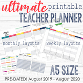 Ultimate Teacher Planner   Pre-dated Aug2019-Aug2020   Colorful   A5 SIZE Layout