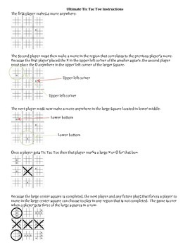 Ultimate Tic Tac Toe Printable and Instructions