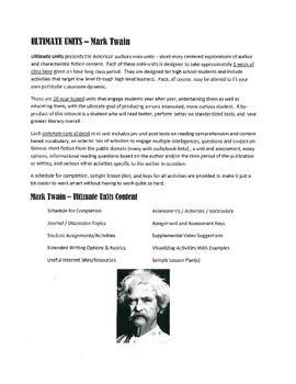 Mark Twain Ultimate Short Stories Unit