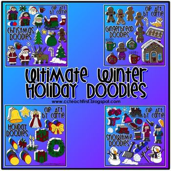 Winter Holiday Doodles (168 BW & full-color PNG images)