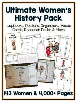 Ultimate Women's History Pack - Lapbooks, Research Book, Writing Folder & More