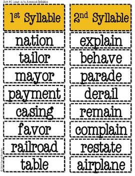 Words Their Way Based Word Sort Set-Middle/End Syllables and Affixes Stage