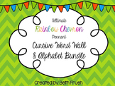 Word Wall and Alphabet Bundle - Cursive (Rainbow Chevron Pennant)