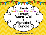 Word Wall and Alphabet Bundle - Print (Rainbow Chevron Pennant)
