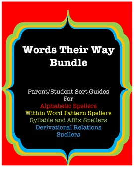 Ultimate Words Their Way Bundle!Student/Parent Guides Red, Yellow, Green & Blue