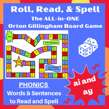 Ultimate ai and ay vowel team Orton word cards, sentences, and game