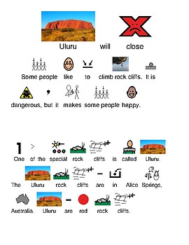 Uluru rock cliff will close - picture supported text lesson current event