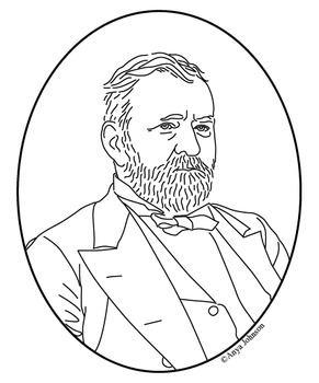 Ulysses S. Grant (18th President) Clip Art, Coloring Page or Mini Poster