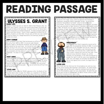 Ulysses S. Grant Biography Reading Comprehension Worksheet, Civil War