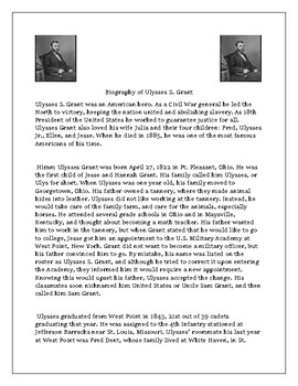 Ulysses S Grant Biography and Reading Comprehension Questions