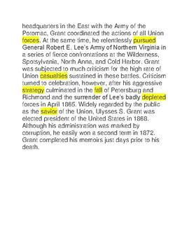 Ulysses S. Grant - CLOZE Reading