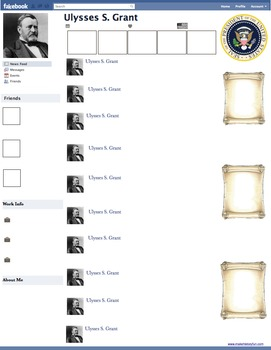 Ulysses S. Grant Presidential Fakebook Template