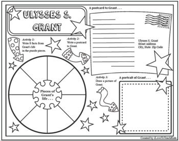 Ulysses S. Grant Timeline Poster Acrostic Poem Activity with Reading Passage